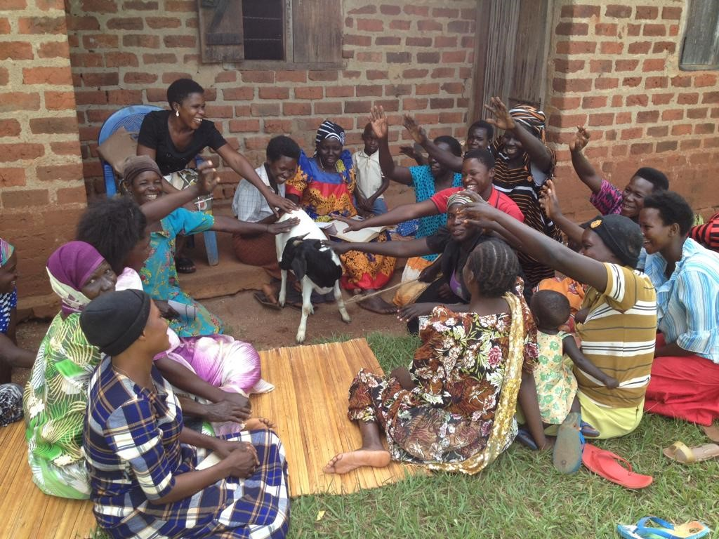 Group of Ugandan women receive gift of a goat from Act4Africa