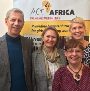 Act4Africa UK Team, November 2016 (left to right): Martin, Sarah, Hilary. Front: Barbara